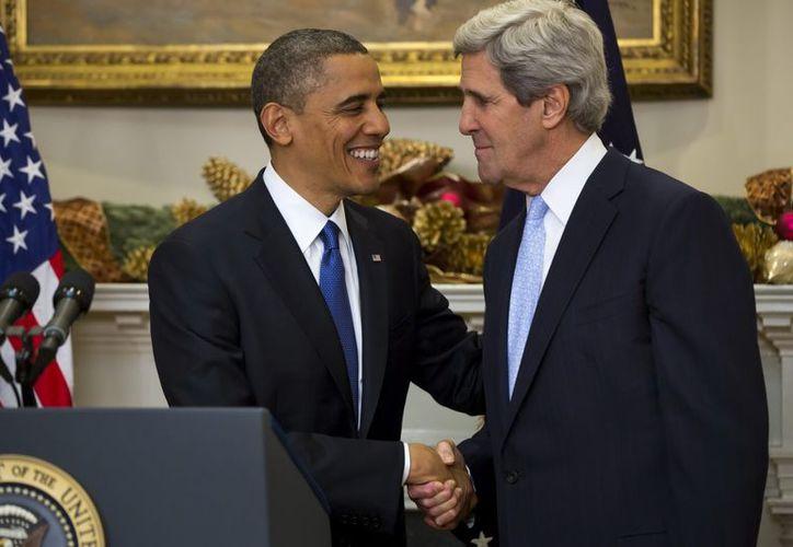 Barack Obama durante el nombramiento de John Kerry en la Casa Blanca en Washington, EU. (EFE)
