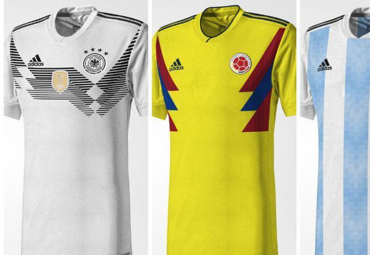 Jersey filtrados de Alemania, Colombia y Argentina para Rusia 2018. (Foto: Récord)