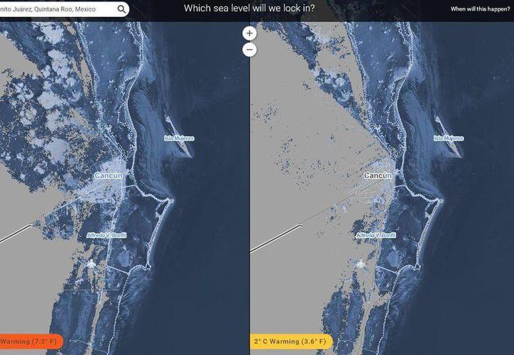 La herramienta también permite visualizar qué ocurrirá ante un escenario de 4 grados centígrados. (choices.climatecentral.org/)