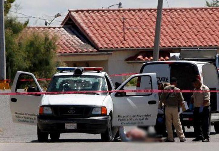 Imagen del lugar donde fue asesinado el único policía que había en Guadalupe Distrito Bravos, Chihuahua. (Foto: Reuters)
