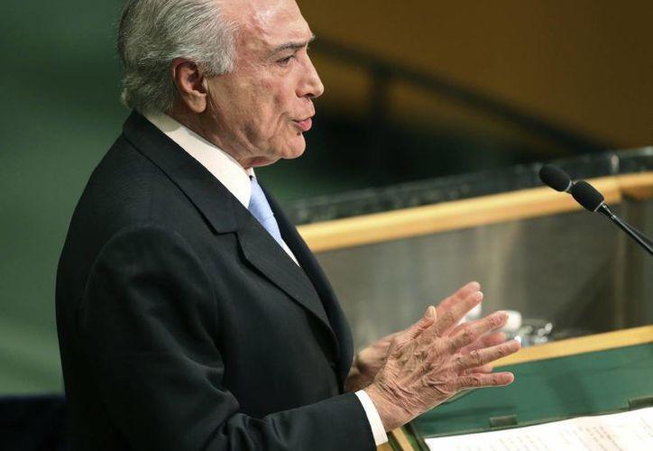 Michel Temer, presidente de Brasil, durante la 71ra sesión de la Asamblea General de las Naciones Unidas. (AP/Seth Wenig)
