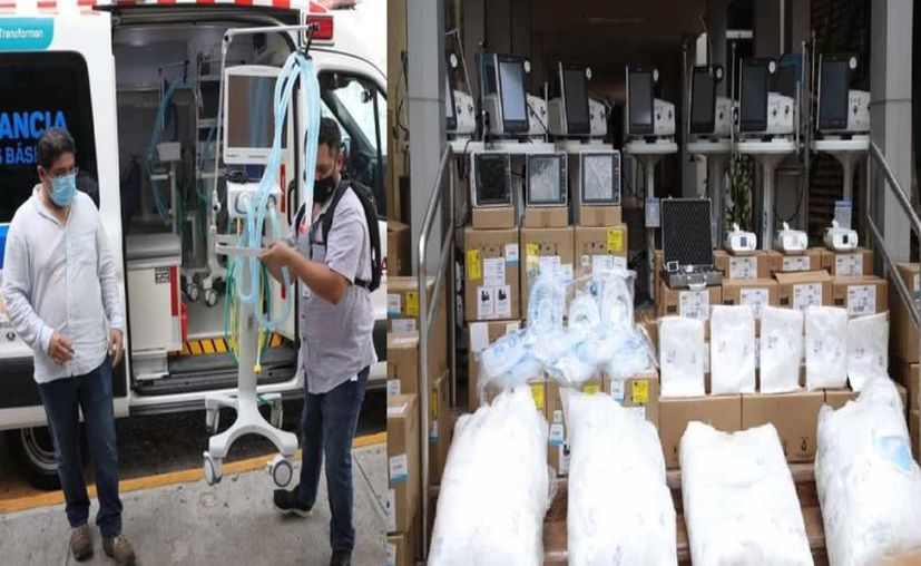 Los implementos que el Gobierno del Estado ha entregado a hospitales del IMSS. (Novedades Yucatán)