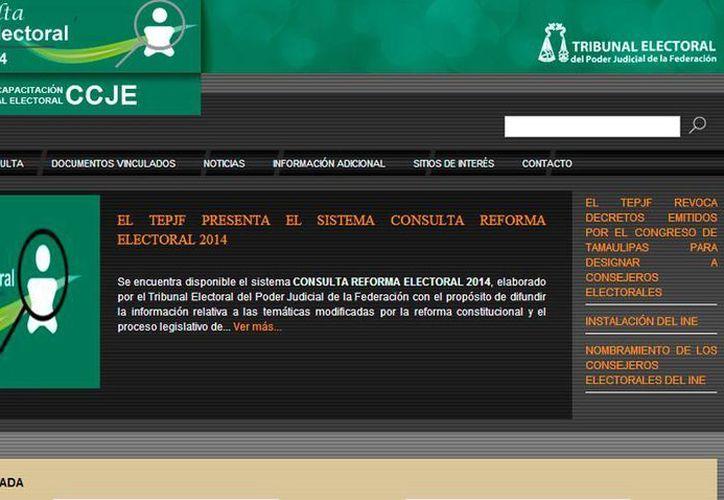 El micrositio Consulta Reforma Electoral 2014 expone la información relacionada con los cambios introducidos en el sistema electoral, y los contrasta con la ley vigente. (Captura de pantalla/SIPSE.com)