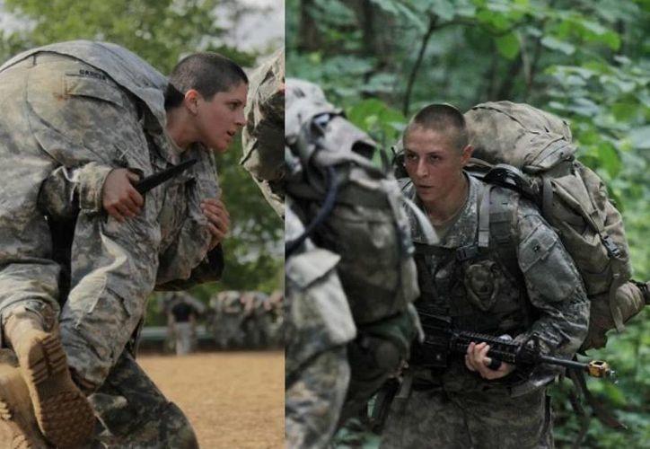 Imagen de la capitana Kristen Griest (izq), y la teniente primera Shaye Haver, quienes serán las primeras mujeres que completaron el adiestramiento en la escuela de Rangers del ejército de Estados Unidos. (Fotos por por Spec. Nikayla Shodeen y soldado. Ébano Bancos/EU Ejército)