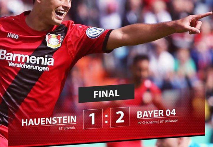 Imagen de la cuenta oficial de Bayern Leverkusen en Twitter donde destaca la labor de Javier <i>Chicharito</i> Hernández en el triunfo ante  SC Hauenstein. (Twiiter: @bayer04_es)