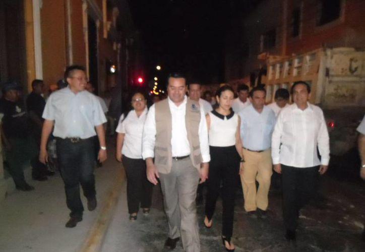 Regidores panistas verifican inicio de obras en calles del Centro Histórico. (Cortesía)
