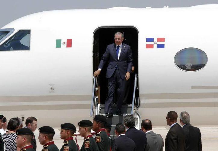 Danilo Medina Sánchez, presidente de República Dominicana, arribó al Aeropuerto de Mérida poco después del mediodía. (SIPSE)