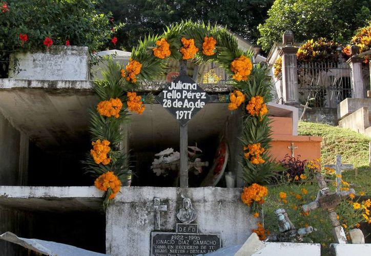 El arco de flores de cempasúchil y hojas de palmilla es una tradición en las sepulturas de los muertos. (Notimex)