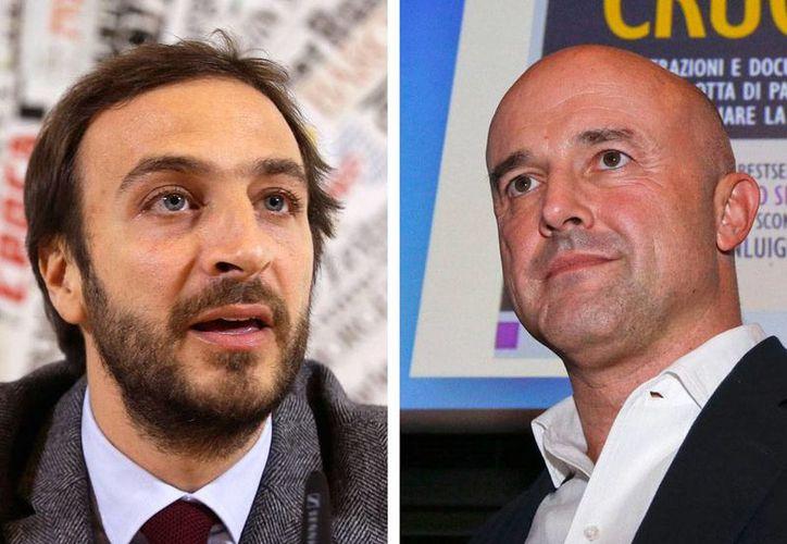 Los periodistas periodistas Emiliano Fittipaldi (der) y Gianluigi Nuzzi están acusados de filtrar información secreta de la Iglesia Católica. (AP)