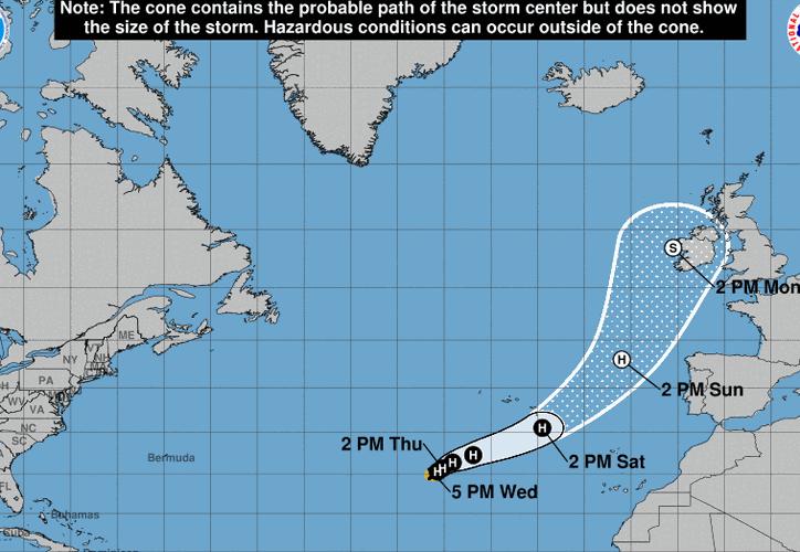 Los fuertes vientos del décimo huracán del Atlántico, amenazan a Irlanda y Portugal.  (Foto: NOAA)