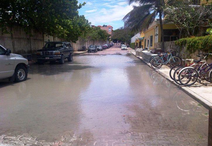 Encharcamientos visibles solamente, reporta CAPA; aunque un rebosamiento de aguas negras se reportó al final de la calle 16 bis. (Daniel Pacheco/SIPSE)