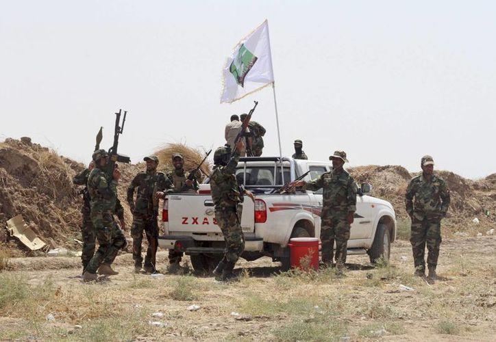 Fuerzas iraquíes y militantes chiítas gritan consignas antiterroristas en una posición al norte de Bagdad. La ONU reportó este lunes que los muertos en Irak disminuyeron de 1737 en julio a 1420 en agosto. (Foto AP)