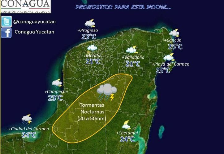 Pronóstico para esta noche en la Península de Yucatán. (Conagua)