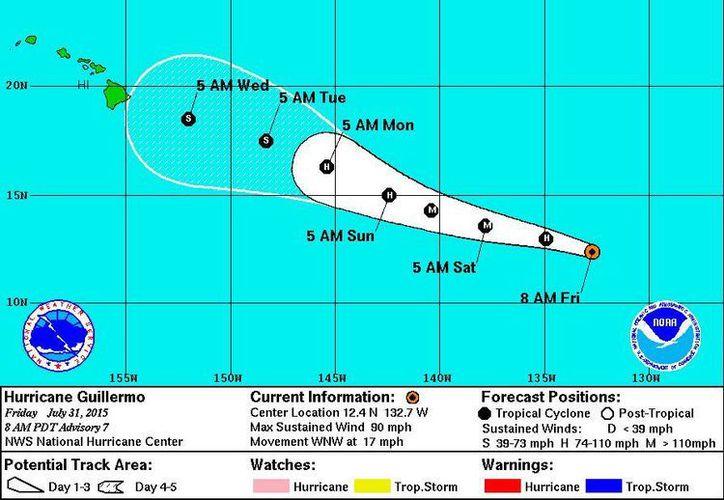 Pronóstico del Centro Nacional de Huracanes de Miami, de la trayectoria del huracán Guillermo en el Océano Pacífico. (CNH)