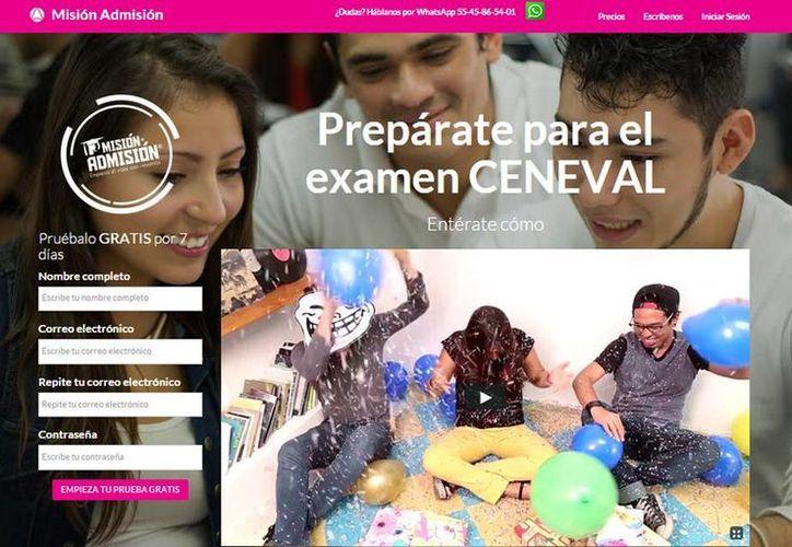 La aplicación y página web de Misión Admisión es un simulador de la prueba de Ceneval para estudiantes de Yucatán. (Captura de pantalla)