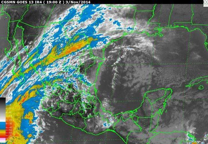 Imagen de satélite de la Comisión Nacional del Agua (Conagua) que muestra la ubicación del huracán Vance, ya en categoría III, este 3 de noviembre de 2014. (conagua.gob.mx)