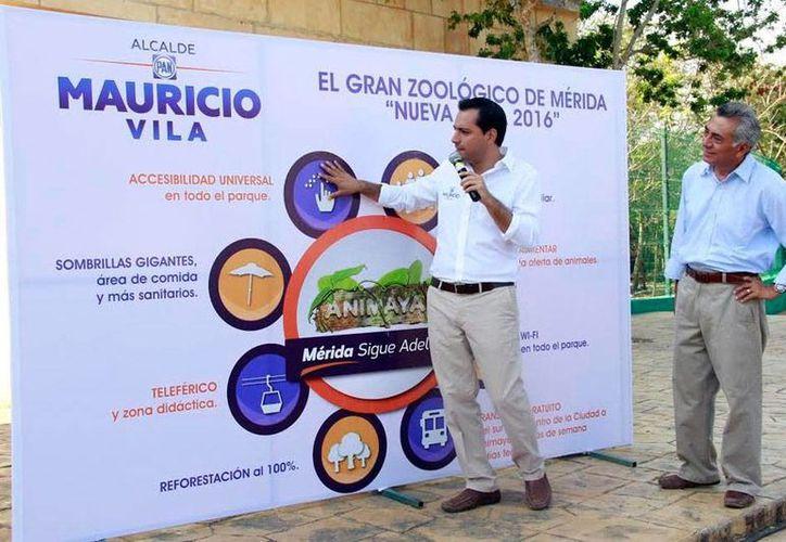 Mauricio Vila estuvo ayer en el zoológico Animaya, en donde habló de su proyecto de convertirlo en el Gran Zoológico de a Mérida. (Milenio Novedades)