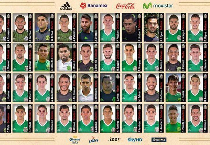 Todos los incluidos en la lista preliminar de Juan Carlos Osorio rumbo a la Copa América USA que arranca el tres de junio. (Facebook: Mi Selección)