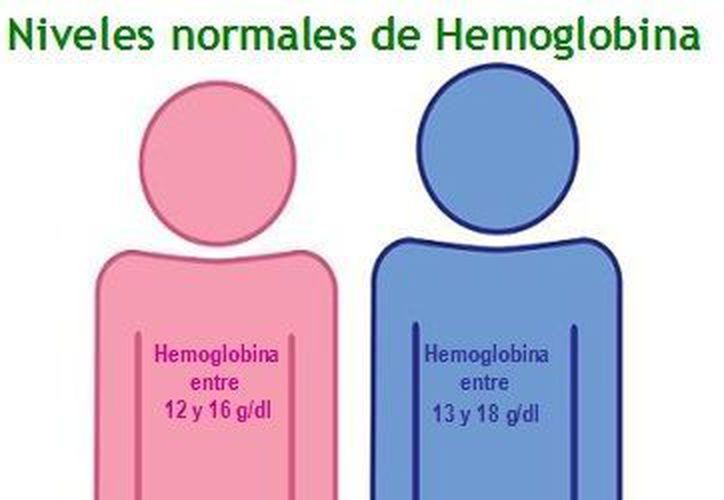 La hemoglobina en las mujeres es de 12 a 16 gramos por cada 100 mililitros, mientras que en el hombre es de 13 a 18 por cada 100 mililitros, y cuando estos descienden la persona presenta anemia. (Redacción/SIPSE)