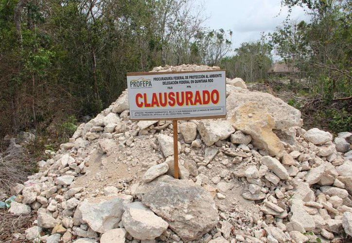 Sello de clausura de la Procuraduría Federal de Protección al Ambiente. (Rossy López/SIPSE)