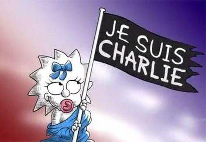 Maggie fue la integrante de la familia Simpson encargada de rendir el homenaje a las víctimas de la matanza en el semanario Charlie Hebdo. (Fox)