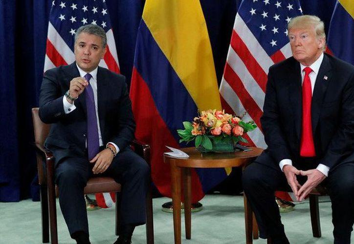 Iván Duque y Donald Trump en Nueva York, EU., 25 de septiembre de 2018 (Foto: Reuters/ Carlos Barria)