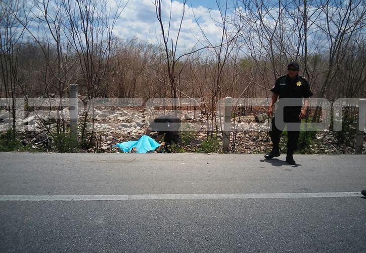 Elementos de la SSP acordonaron la zona del accidente. (SIPSE)