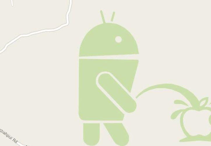 Viralizan imagen de Android orinando a Apple en Google Maps