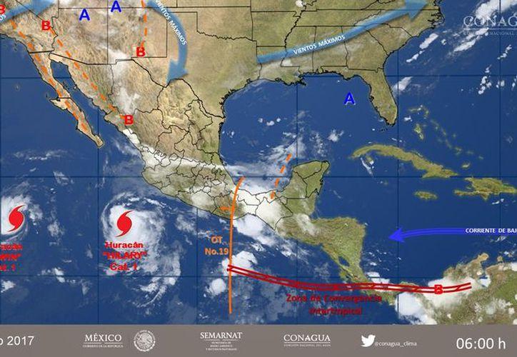 El huracán 'Hilary' incrementó a categoría 2. (Conagua).