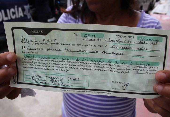 El pagaré era por concepto de liquidación a 'María Pérez García' por 16 años de servicio. (Redacción/SIPSE)