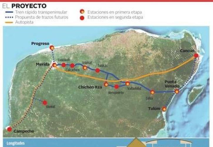 En una primera etapa del Tren Transpeninsular, se construirán 336 kilómetros de infraestructura ferroviaria y siete estaciones. (Milenio)