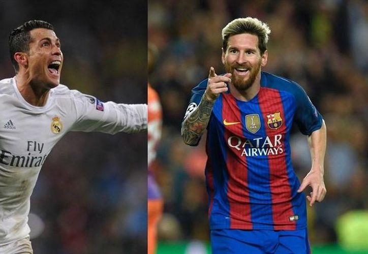 El portugués Cristiano Ronaldo (i) ya suma 95 goles en Champions League, pero el argentino Lionel Messi (d), que estaba a diez de distancia, ha recortado terreno hasta llegar a 93 goles. (Foto tomada de es.uefa.com)