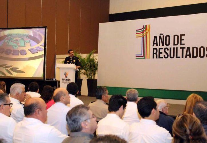 El secretario de Seguridad Pública estatal, Luis Felipe Saidén Ojeda, durante su intervención. (Milenio Novedades)