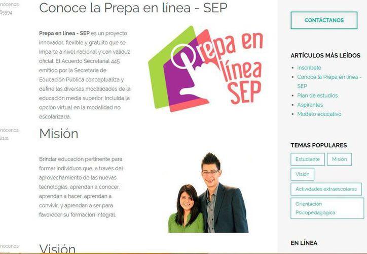 Captura de pantalla del sitio web de la SEP en que ofrece información sobre la Prepa en Línea.