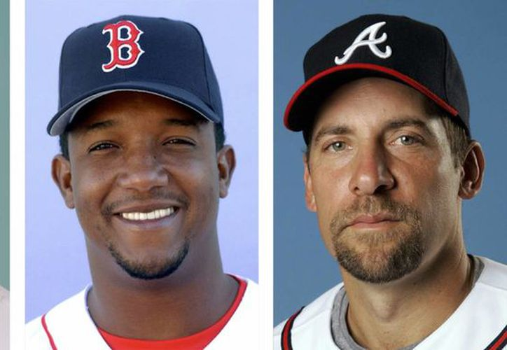 Desde la izquierda: el retirado pitcher de Diamondbacks de Arizona, Randy Johnson en 2008; Pedro Martinez, de Medias Rojas de Boston en 2003 y John Smoltz, de Bravos de Atlana, en 2008. Ellos forman parte de los candidatos al Salón de la Fama del beisbol. (Foto: AP)