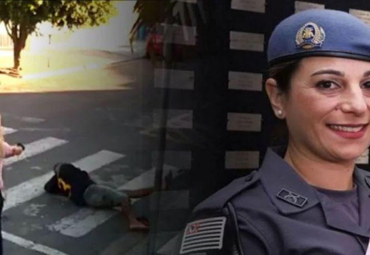 La rápida reacción de la oficial, fue grabada por cámaras de seguridad. (Excélsior)