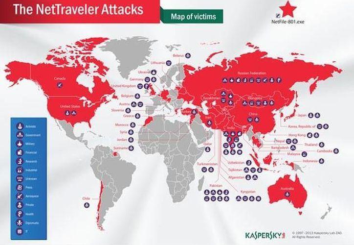 En rojo, los países afectados por el 'NetTraveler'. (RT)