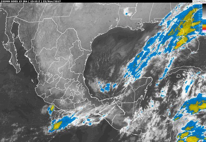 Se prevé un cielo nublado por la tarde con tormentas puntuales en la Península de Yucatán. (Conagua)