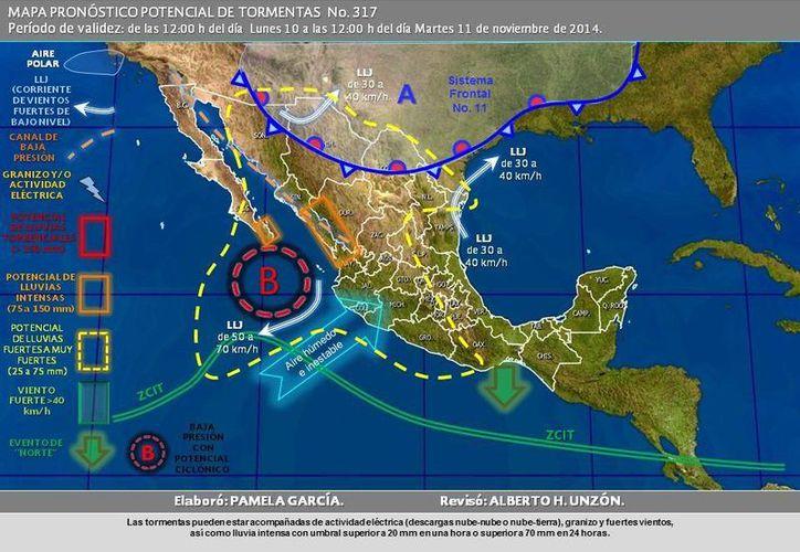 Ya viene en camino el frente frío número 11, que afectará la Península de Yucatán a partir del jueves o viernes. (Conagua)
