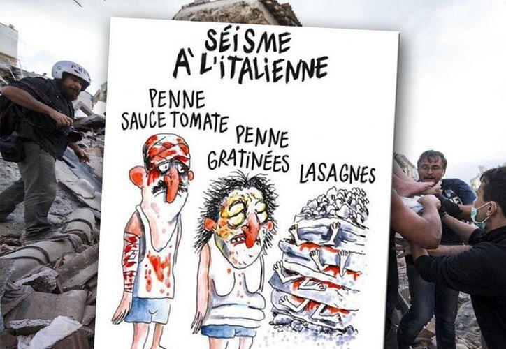 La revista Charlie Hebdo tocó las fibras sensibles de los italianos al mofarse de las victimas del peor terremoto que se ha registrado en ese país. (Fotocomposición de SIPSE.com con imágenes de Notimex y Twitter)