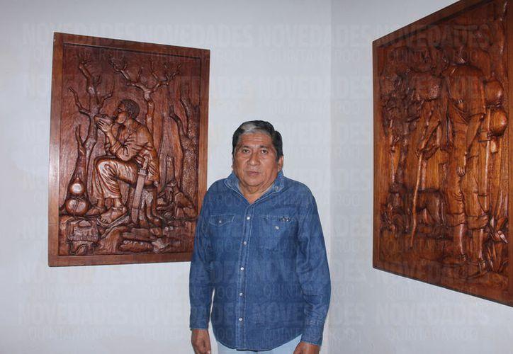 Juan Cimá ha logrado destacar a nivel nacional e internacional con su técnica de tallado de escultura sobre madera. (Foto: Redacción)