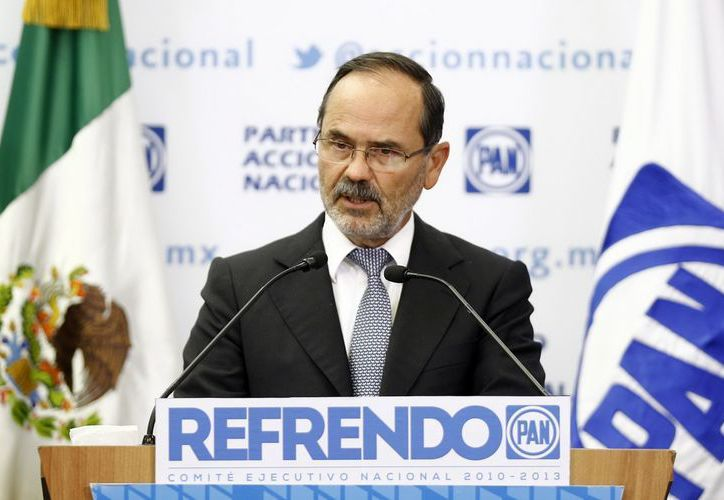 Madero Muñoz, durante la conferencia de prensa sobre la actualización, depuración y refrendo del Padrón de Adherentes y Miembros Activos del PAN. (Notimex)