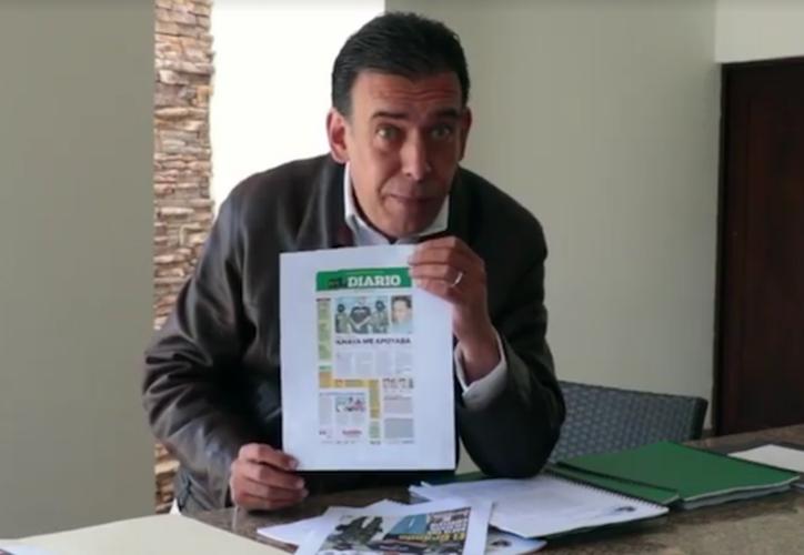 En el material de cerca de 9 minutos de duración, el coahuilense apunta que durante el sexenio Calderón Hinojosa fue acusado injustamente de delitos. (Captura Youtube).