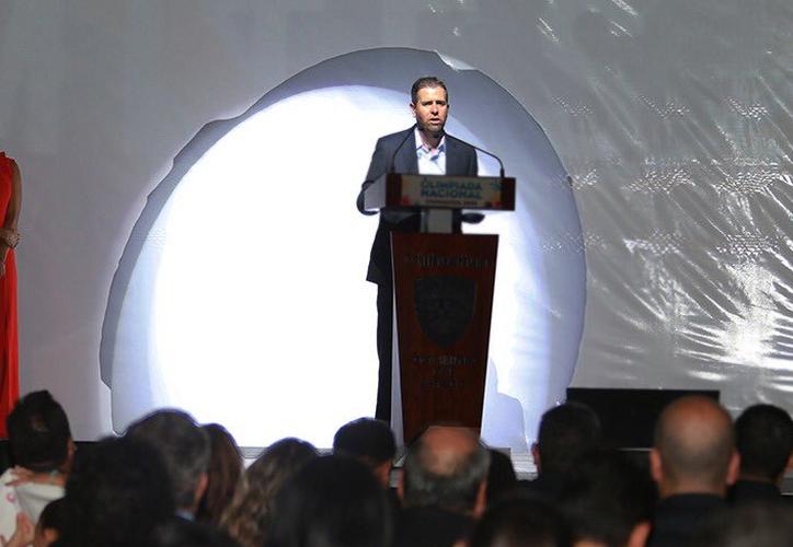 Alfredo Castillo, director de la Conade, al declarar inaugurada ayer la Olimpiada Nacional 2018. (Fotos: Henry Chablé/Milenio Novedades)
