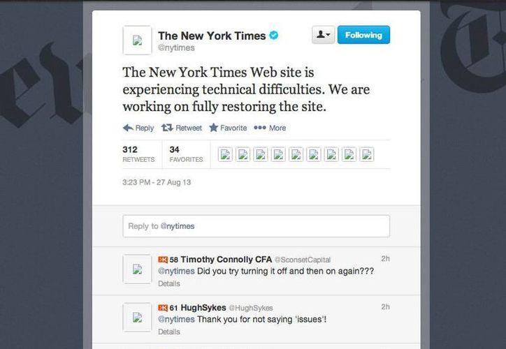 En esta image en la que el rotativo declara tener dificultades técnicas, se aprecia el problema con la publicación de imágenes en Twitter. (Foto: Twitter/NYTimes)