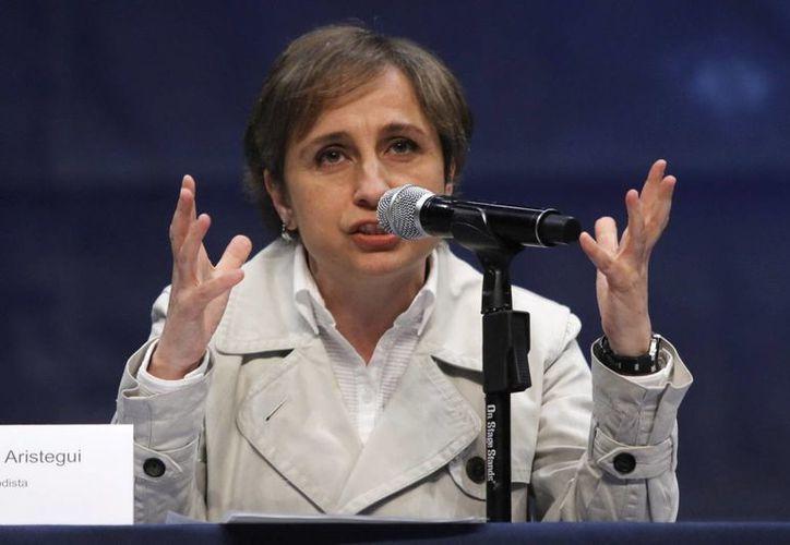 La periodista Carmen Aristegui opina que el presidente Enrique Peña está respondiendo de las peores maneras, frente a su sociedad. (Foto de archivo de Notimex)