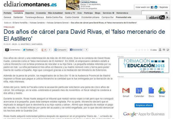 Nota publicada por el periódico español hace dos años cuando condenaron a David Rivas Huete, conocido como el 'falso mercenario de El Astillero' en ese país. (Milenio Novedades)