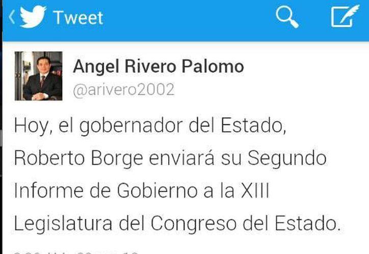 El titular de la Secretaría de Desarrollo Social e Indígena (Sedesi), Angel Rivero Palomo, publicó el tuit a las 8:26 horas. (Redacción/SIPSE)