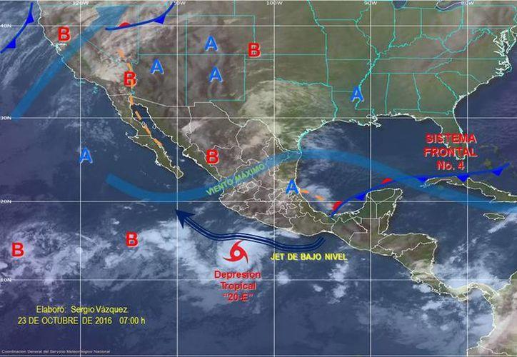 La depresión tropical 20-E se formó en el Océano Pacífico, al sur de Michoacán y Guerrero. (smn.cna.gob.mx)