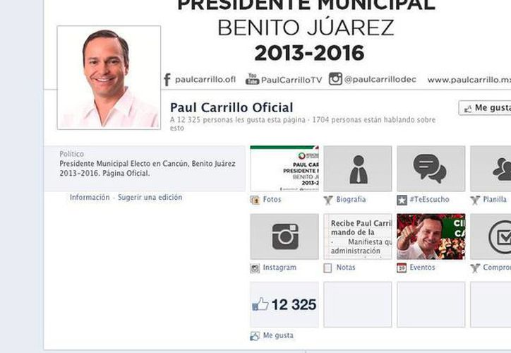 El presidente municipal de Benito Juárez tiene 12 mil 325 seguidores en su Fan page. (facebook.com/paulcarrillo.ofl)